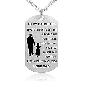 Inspirierende Halskette aus Edelstahl – Erkennungsmarke mit Aufschrift 'Always Remember You Are Braver' – Geburtstagsgeschenk für Tochter und Sohn