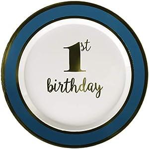 Amscan International 430622 - Vajilla de Papel, Placa de plástico, 19 cm, Primer cumpleaños, Bluebrdr
