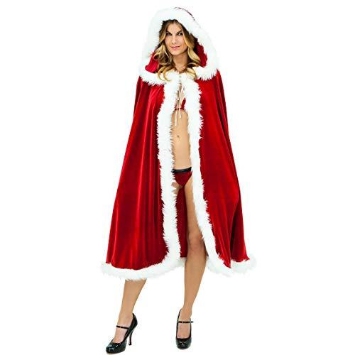 Santa Anzug Adult Cosplay Luxus Plüsch Schal Rot Zubehör Weihnachten Kleider Fancy Dress Outfits Für Weihnachten/Karneval Halloween Kostüme,Red,OneSize