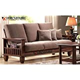 VK furniture Solid Sheesham Wood 3+2+1 Sofa Pack for Living Room Home, Standard (Walnut Dark Brown)