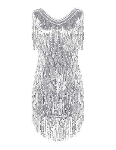 YiZYiF Damen Glitzer Pailletten Latein Kleid Quasten Tanzkleid Rumba Tango Ballett Dancewear Cocktail Abendkleid Ballroon Party Kleider Performance Outfits Silber X-Large