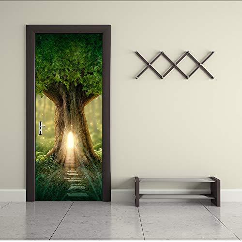 ber Baum Loch Hellgrün Bogen Wandtattoo Selbstklebende Vinyl Removable Poster Tür Tapete 77x200cm ()