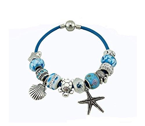 charmes-cinturino-gioielli-tema-oceano-cordoncino-in-cuoio-con-stella-di-mare-soggetto-conchiglia-ta
