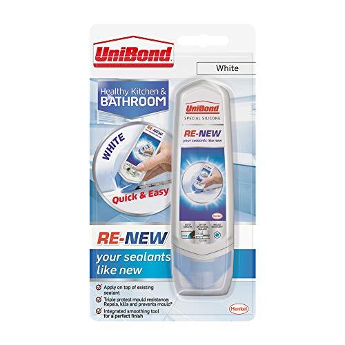 UniBond Re-new Mastic silicone Blanc Finition pour cuisine, salle de bain, lavabo ou douche Triple protection résistance à la moisissure 100 ml