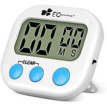 EC Technology Reloj Temporizador de Cocina Digital cn Pantalla LCD y Sistema de Alarma, Imán, Base Retráctil, Gancho para Colgado - Blanco