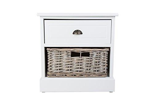 Chatsworth Shabby Chic weiß Holz Nachttisch Kommode mit 1Schublade und 1Weidenkorb (Schublade Weidenkorb)