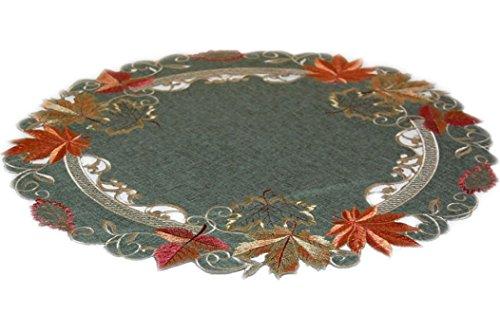 m LEINENOPTIK grün Stickerei Blätter terrakotta beige (60 cm rund) ()