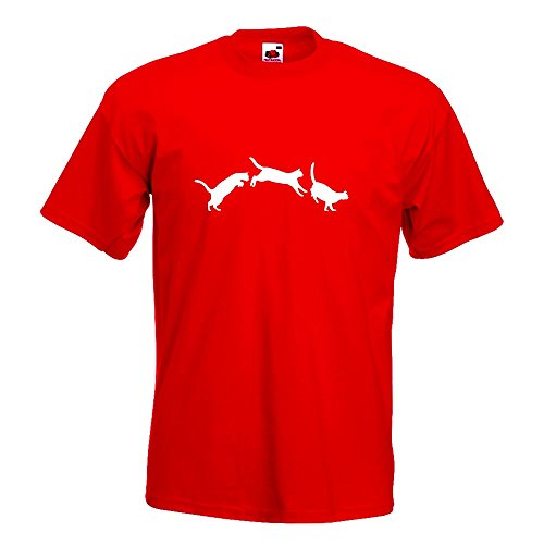 KIWISTAR - springende Katzen - Love T-Shirt in 15 verschiedenen Farben - Herren Funshirt bedruckt Design Sprüche Spruch Motive Oberteil Baumwolle Print Größe S M L XL XXL Rot