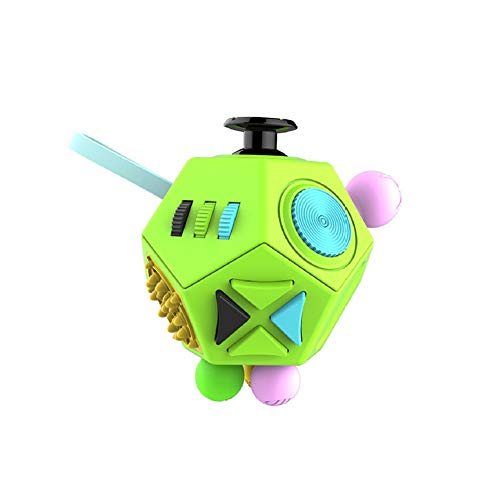 Hemore 1pc Stress Reliever Fidget Cube Handle Toy 12 Side Fidget Toy Cube Relieves Stress and Anxiety Anti Depression Cube for Children and Adults Green