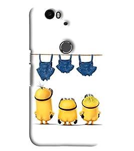 Blue Throat Three Minions Printed Designer Back Cover/Case For Huawei Google Nexus 6P