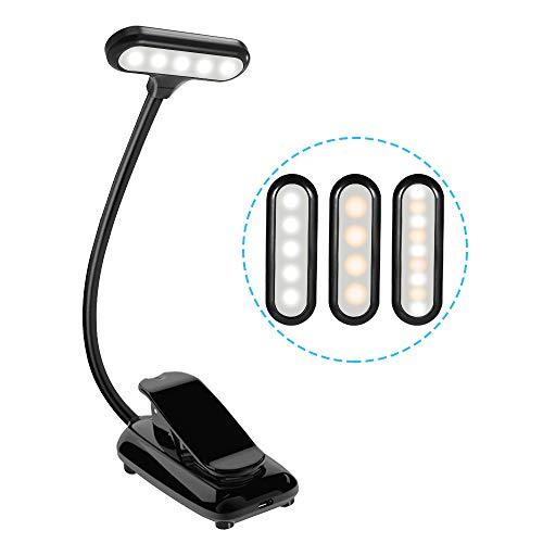 Leselampe LED Buch Klemme, Aufladbar Dimmbar, Augenschutz, USB Klemmleuchte mit 9 LEDs, 360° Flexibler Schwanenhals, 3 Lichtmodi [ Weißes, Warmes, Warmweißes ] für Kinder Nacht Bett Lesen