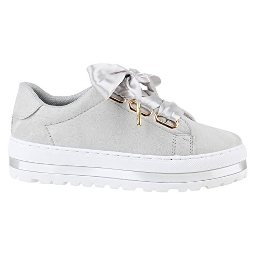 Damen Plateau Sneaker Lack Metallic Sneakers Schuhe Grau Schleife