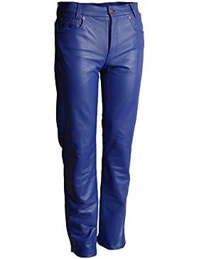 Lederhose Basic Rind Nappa blau