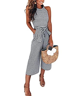FeelinGirl Women's Striped Jumpsuits High Waisted with Belt All in one Playsuit