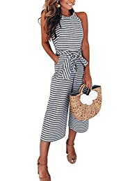 6dae8c01c2 FeelinGirl Women s Striped Jumpsuits High Waisted with Belt All in one  Playsuit