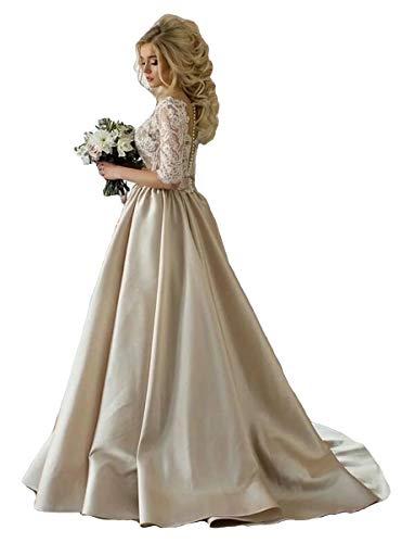 ShineGown Damen Spitze Champagner Brautkleider Halbarm Weiß Hochzeitskleid Jahrgang Partykleid...