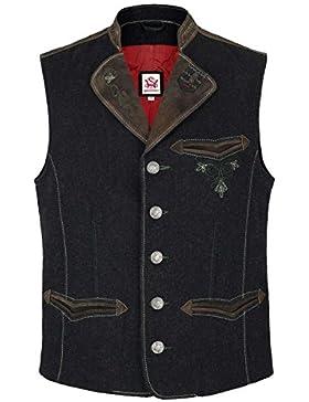 Herren Spieth & Wensky Weste Wolle/Leder grau, grau,