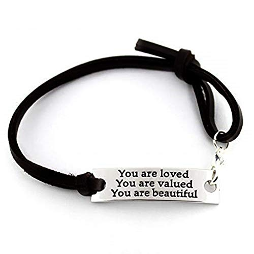 eliebt, Sie Werden Geschätzt, Sie Sind Schön Leder Inspirational Armband Für Frauen Männer Schmuck Geschenk ()