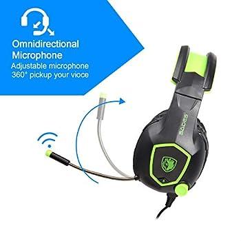Sades SA818 Comodo LED da 3,5 mm Stereo Gaming LED Lighting Cuffia Over-Ear Cuffia con Microfono per PS4,Xbox One,PC,Mac con Cancellazione del Rumore e Controllo del Volume