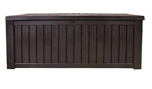 Ondis24 Rockwood Kissenbox 570 Liter Auflagenbox in Holz Optik Sitztruhe ca. 155 x 72 x 64 (H) cm, braun