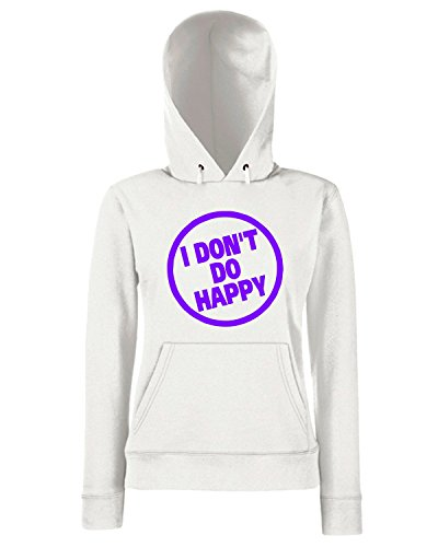 T-Shirtshock - Sweats a capuche Femme FUN0309 15n dont do happy decal 02344 Blanc