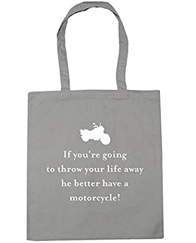 HippoWarehouse If you're going to throw your life away he better have a motorcycle Tote Shopping Gym Beach Bag 42cm x38cm, 10 litres