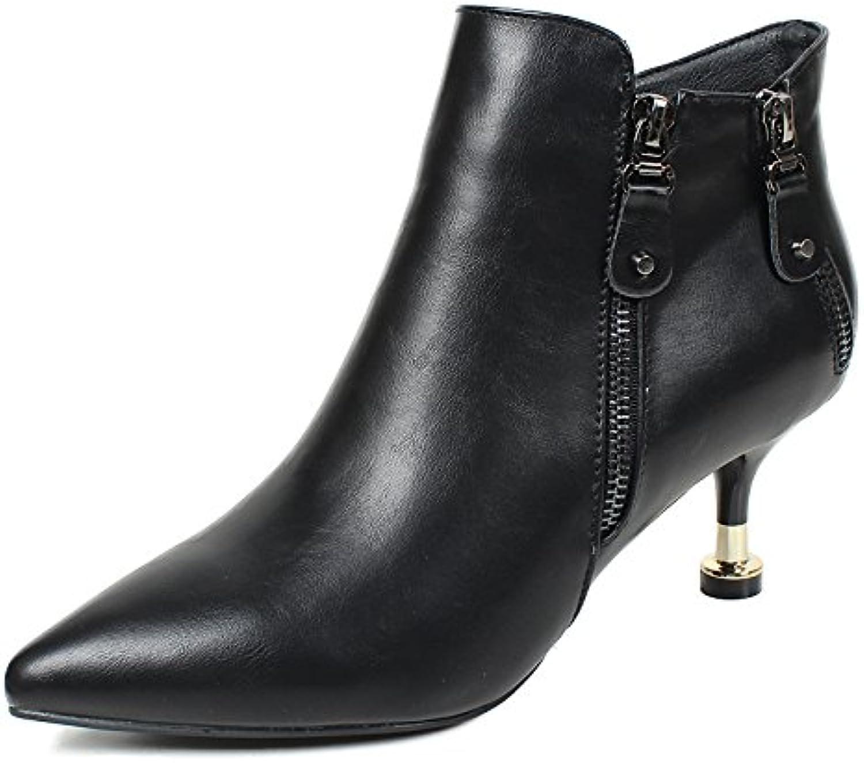 KHSKX-Una Hembra Con Algodón Fino Acolchado Calzado Con Botas Botas Zapatos De Cuero Y La Cachemira Todos Match...