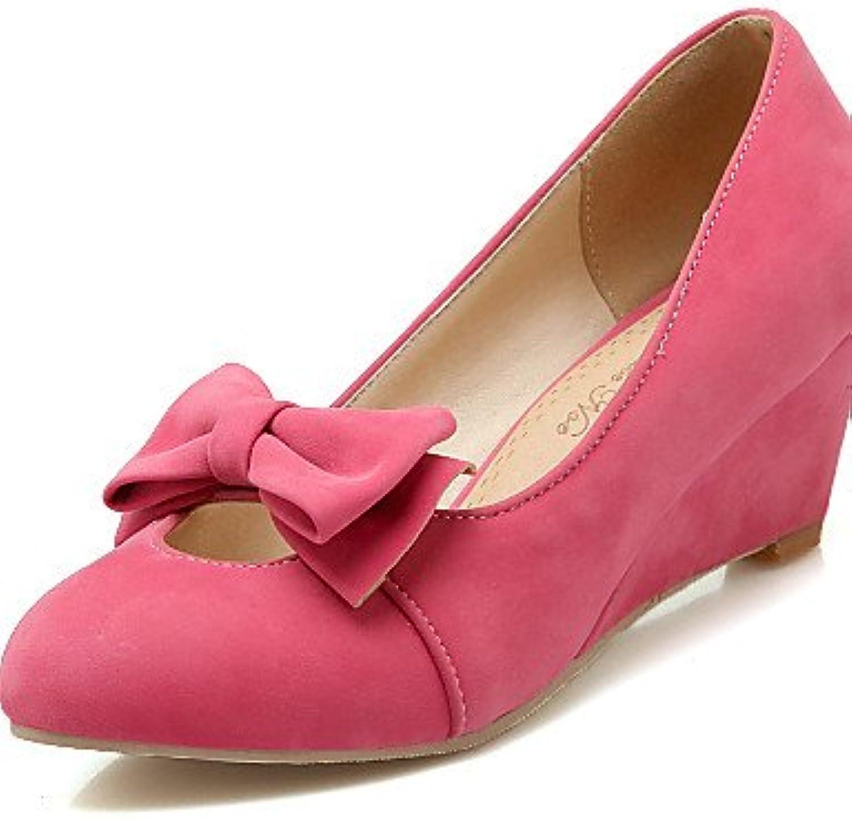 ZQ Zapatos de mujer-Tac¨®n Cu?a-Cu?as / Punta Redonda-Tacones-Oficina y Trabajo / Casual-Vell¨®n-Negro / Amarillo...