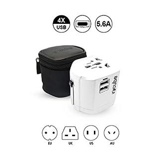 Worldwide Travel Adapter, iBoxCube® New International Plug [US UK EU AU] with Dual USB Charging Ports [Dual USB Power Rating: 5V/2500mA] & Universal AC Socket, Spare Safety Fused (Pearl White)