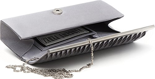 VINCENT PEREZ, pochette, sac en bandoulière, pochette en satin avec drapé et ornements métalliques avec chaîne retirable (120 cm), 23 x 9,5 x 4,5 cm Gris