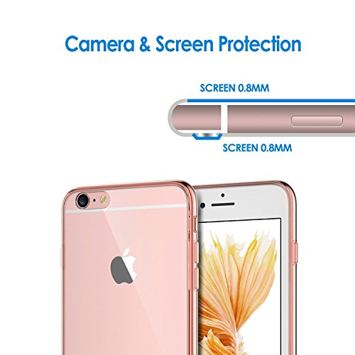 "iPhone 6s Coque, JETech à iPhone 6/6s Case Coque Housse Etui Shock-Absorption Bumper et Anti-Scratch Effacer Back pour Apple iPhone 6 6s 4.7"" (Bumper - HD Clair) Or Rose"
