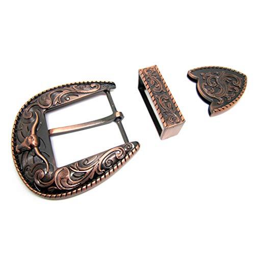 YONE Western Cowboy 3 Piece Buckle Belt Buckle Set Longhorn Fits 1.5 inch 40mm Belts Copper