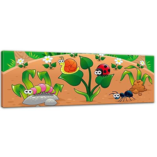 Keilrahmenbild - Kinderbild - Waldlichtung Cartoon - 160 x 50 cm - Bilder als Leinwanddruck - Wandbild von Bilderdepot24 - Kinder - Natur - kleine Insekten auf dem Waldboden