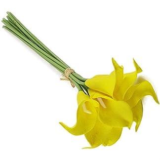 10Lirios de agua artificiales de aspecto natural, para ramos de flores y de novias, 33cm, color amarillo, de Jooks