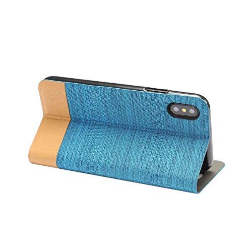 EKINHUI Case Cover Mischfarben Jeans Stoff Textur PU Ledertasche Soft TPU Zurück mit Kickstand und Card Slot für iPhone X ( Color : Darkbrown ) Blue