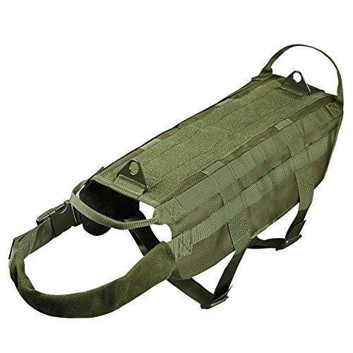 Petvins Tactical Dog Molle Geschirr Militär Weste Verstellbar Outdoor Training Service Camouflage Patrol Hundegeschirr mit Mesh Pad und Griff, XL, Armee-Grün