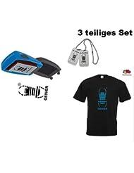 3 tlg. Travelbug T-Shirt - Travelbug Stempel und Travelbug mit CopyTag WeihnachtenGeschenkset Geocaching Paket