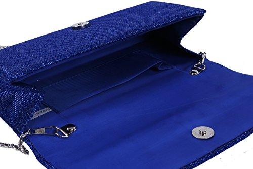 Damara Damen Elegant Strass Faltenwurf Schimmert Handtasche,Blau Gold
