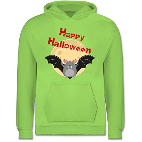 Shirtracer Tiermotive Kind - Happy Halloween Fledermaus - 9-11 Jahre (140) - Limonengrün - JH001K - Kinder ()