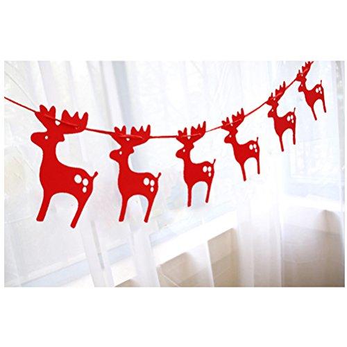 ROSENICE 3m Elch Girlanden Buting Banner hängen Bäume Papierverzierung mit Band Weihnachten Party Dekoration rot (Band Form Kranz)