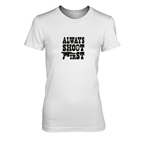 Always shoot First - Damen T-Shirt, Größe: XL, Farbe: weiß (Star Wars Greedo Kostüm)