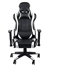 fghfhfgjdfj White 360 Degree Rotation Gaming Chair High Back Computer Office Chair with Headrest Lumbar Support