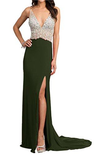 Ivydressing Damen Hochwertig Steine V-Ausschnitt Rueckenfrei Abendkleid Promkleid Chiffon&Tuell Lang Festkleid Olivgruen
