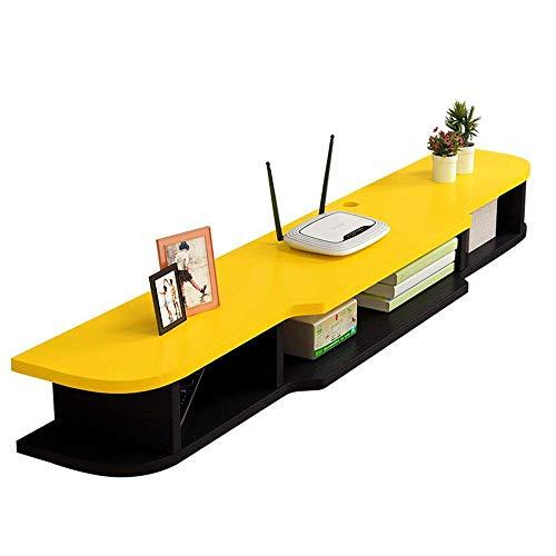 Willesego Schwimmrahmen Wandmontierter TV-Schrank TV-Konsole Hintergrund Wanddekoration Set-Top Box Regal, 4 Farben (Farbe: Gelb + Schwarz) (Farbe : Yellow+Black, Größe : -)
