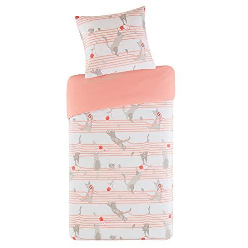 SCM Kinder Bettwäsche 135x200cm Grau Katze 100% Baumwolle 2-teilig Bettbezug Kopfkissenbezug 80x80cm mit Kitty Cat & Knäuel Renforcé Mädchen Jugendliche Teenager Kinderbett (Teenager-mädchen Quilts)