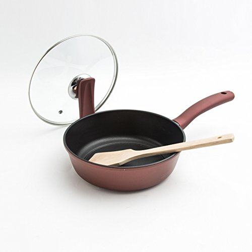 Bratpfannen,Gusseisen Pfanne Omelett-pfannen Pfannen antihaft Grill Multifunktionales kochgeschirr Tiefen Pfanne mit Deckel Pfoa-Frei 8.7 inch 22cm-A