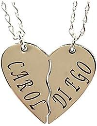 e23b74bd23d2f Collar Doble con Corazon DE Plata Personalizado 925 1000 - MASBARATA.ES