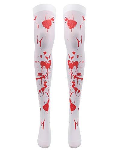 YiZYiF Halloween Kostüm Damen Blutige Strümpfe Blutverschmierte Strumpfhose Zombie Krankenschwester Overknees Kniestrümpfe für Horrorparty Weiß One Size