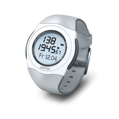 Sanitas SPM 25 Pulsuhr, EKG-genaue Herzfrequenzmessung, wasserdicht bis 30 Meter, Grau (Pulsmesser Mit Training-uhr)
