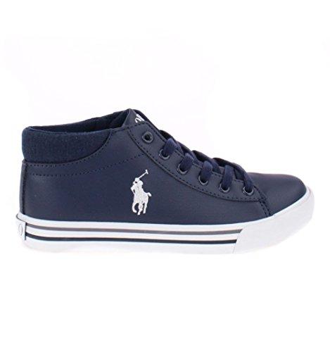 Polo Ralph Lauren Harrison Mid Youth Triple Black Synthetic School Shoes Bleu